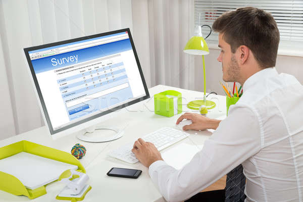 Businessman Filling Online Survey Form On Computer Stock photo © AndreyPopov