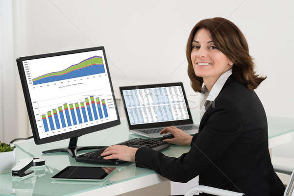 Businesswoman Checking Financial Report On Computer Stock photo © AndreyPopov