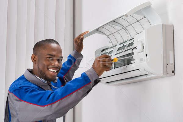 技術者 空調装置 幸せ 小さな アフリカ ストックフォト © AndreyPopov