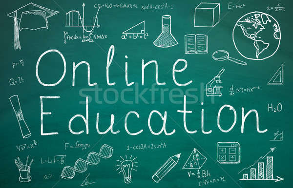 Online Education Text On Green Chalkboard Stock photo © AndreyPopov