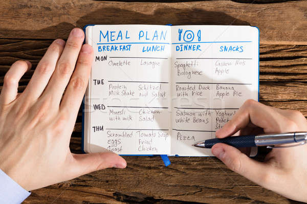 Human Hand Filling Meal Plan On Notebook Stock photo © AndreyPopov