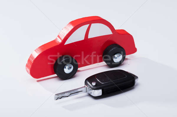 Wooden Red Car And Key Stock photo © AndreyPopov