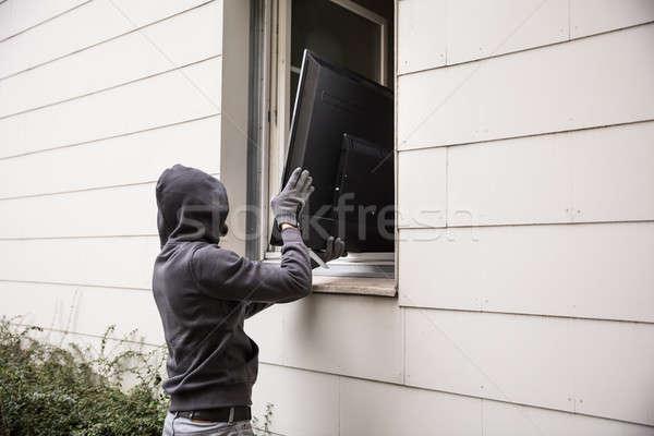 Televizyon ev pencere erkek tablo Stok fotoğraf © AndreyPopov