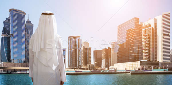 Man Standing In Front Of Dubai Business Bay Stock photo © AndreyPopov