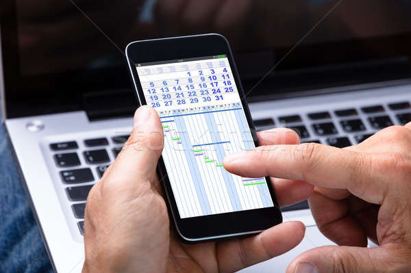 Man Analyzing Gantt Chart On Cellphone Stock photo © AndreyPopov