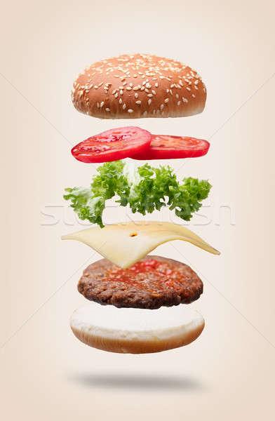 гамбургер Ингредиенты черный продовольствие мяса Сток-фото © AndreyPopov