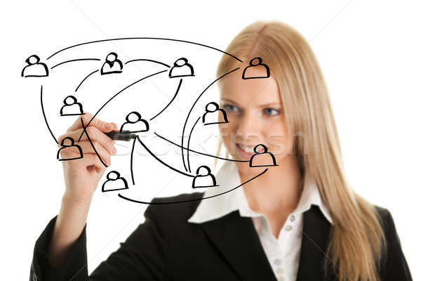 Businesswoman drawing a social network graph Stock photo © AndreyPopov
