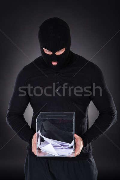 Bűnöző hozzáférés szavazócédula doboz üveg kéz Stock fotó © AndreyPopov