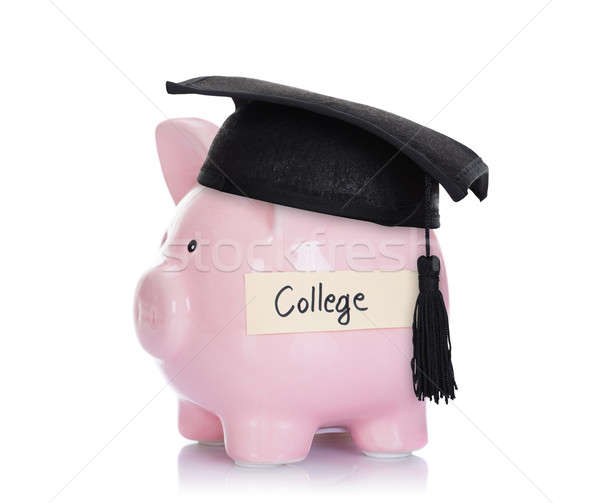 Piggybank With Mortar Board And College Label Stock photo © AndreyPopov