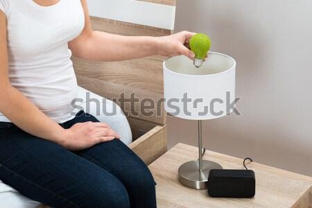 Stockfoto: Vrouw · lamp · home · nachtkastje