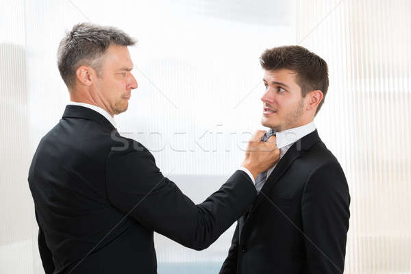 Angry Businessman Holding Young Businessman's Tie Stock photo © AndreyPopov