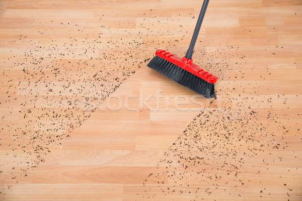Seprű takarítás kosz keményfa padló magasról fotózva kilátás Stock fotó © AndreyPopov