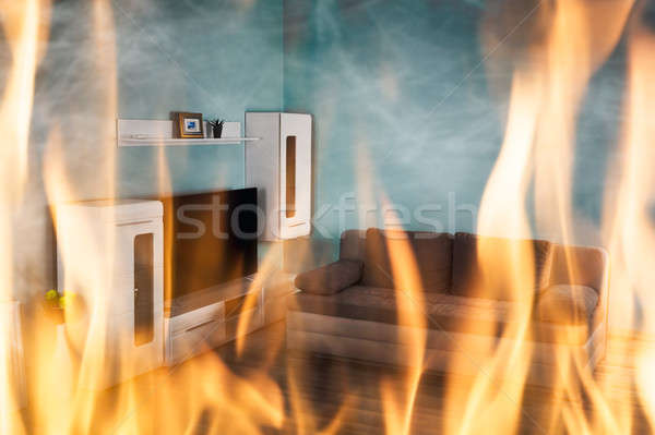 Fire Burning Inside The House Stock photo © AndreyPopov