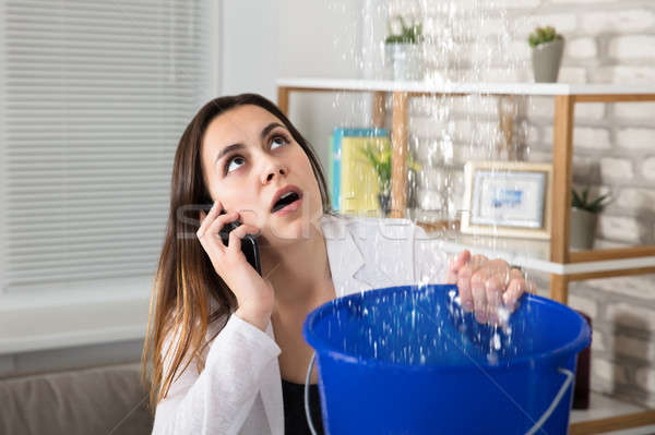 Woman Calling Plumber For Water Leakage At Home Stock photo © AndreyPopov