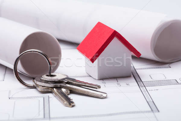 Huis model sleutels blauwdruk business Stockfoto © AndreyPopov