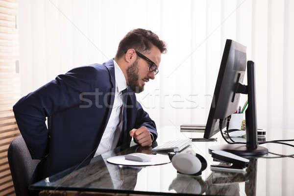 ビジネスマン 腰痛 小さな 職場 手 ストックフォト © AndreyPopov