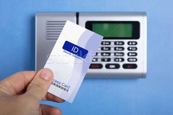 ストックフォト: 手 · アクセス · カード · ロック