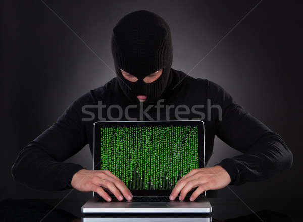 Hacker danych laptop stałego ciemności Zdjęcia stock © AndreyPopov