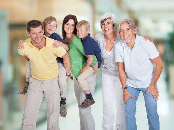 Szczęśliwy pokolenia portret rodzinny trzy rodziny stałego Zdjęcia stock © AndreyPopov