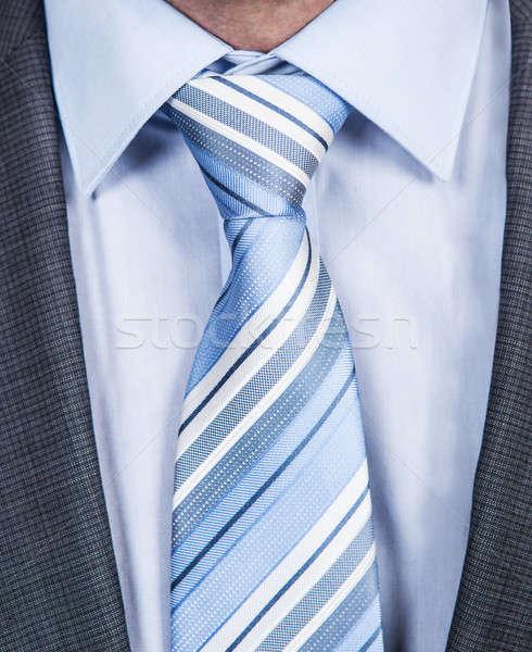 Csíkos nyakkendő közelkép fotó kék üzlet Stock fotó © AndreyPopov