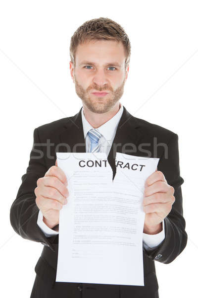 Angry Businessman Tearing Contract Paper Stock photo © AndreyPopov