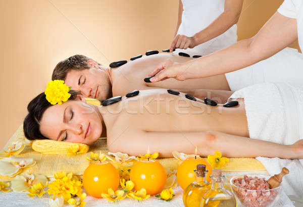 Photo stock: Couple · chaud · pierre · thérapie · spa