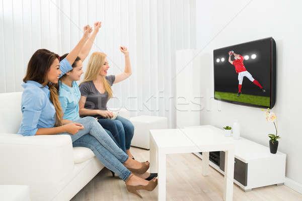 три женщины смотрят регби матча Сток-фото © AndreyPopov