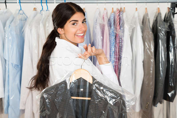 Mulher terno compras feliz roupa negócio Foto stock © AndreyPopov