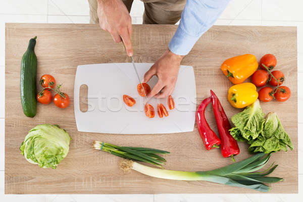 Férfi kezek tapsolás zöldségek magasról fotózva kilátás Stock fotó © AndreyPopov