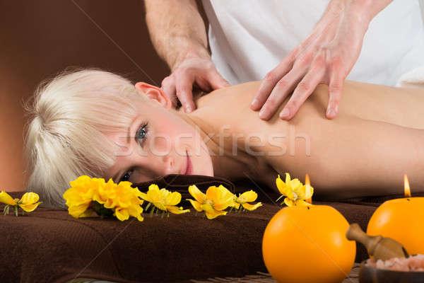 плечо массаж улыбаясь женщину Сток-фото © AndreyPopov