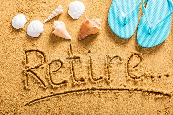 Emeklilik plan plaj görmek yazılı Stok fotoğraf © AndreyPopov