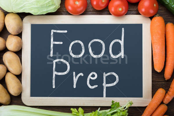 Food Preparation Words On Slate With Vegetables Stock photo © AndreyPopov