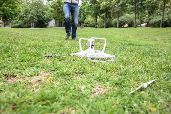 Quadrocopter Fallen On Grass Stock photo © AndreyPopov