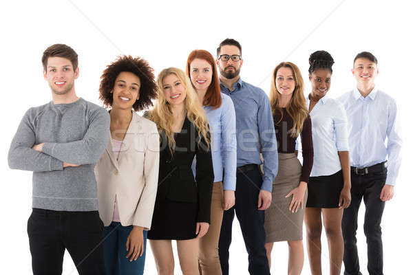 Smiling Multiracial College Students Standing In Row Stock photo © AndreyPopov