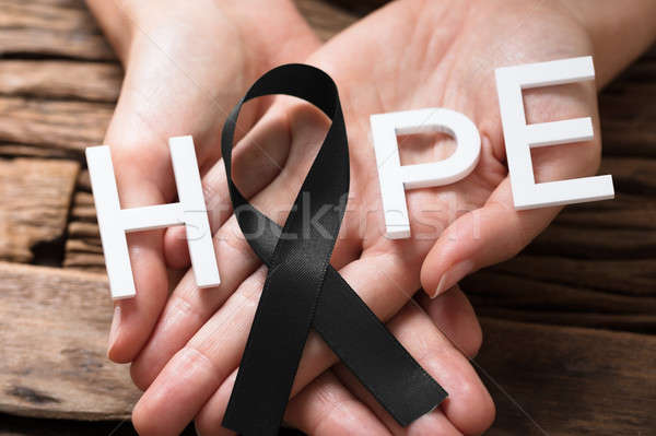 Mano nastro speranza testo persone Foto d'archivio © AndreyPopov