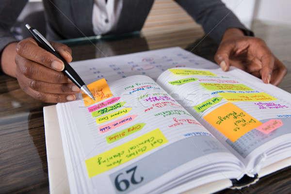 Imprenditrice guardando elenco business lavoro diario Foto d'archivio © AndreyPopov