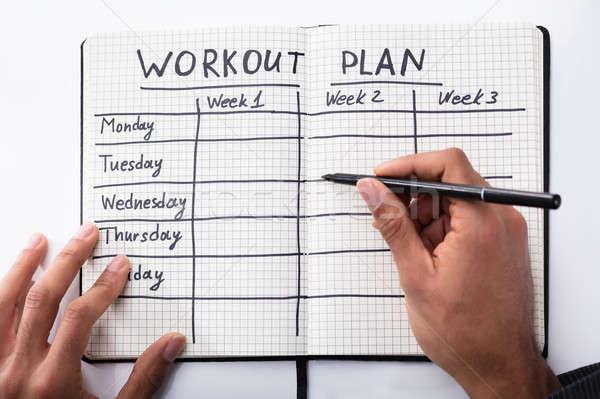 Stock foto: Person · Füllung · Training · Plan · Notebook · Ansicht