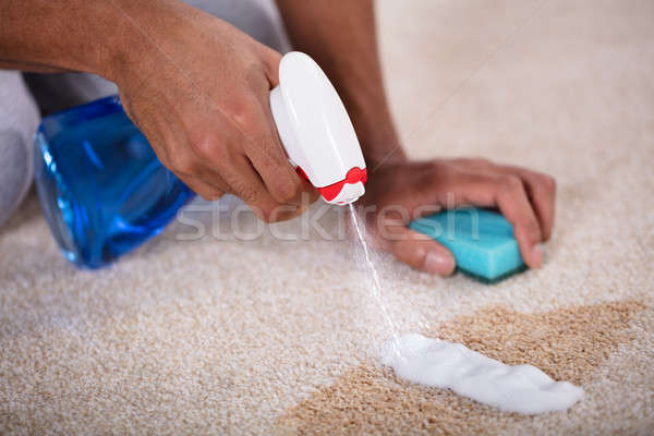 Janitor Cleaning Spilled Coffee On Carpet Stock photo © AndreyPopov