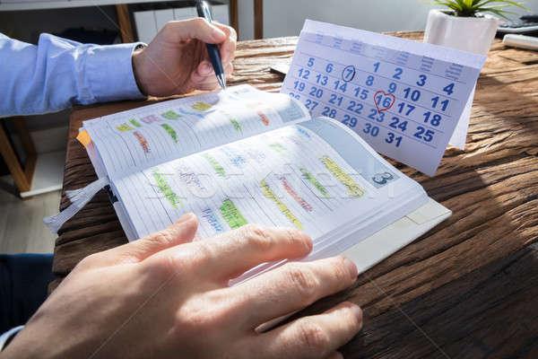 Strony harmonogram dziennik kalendarza biurko Zdjęcia stock © AndreyPopov