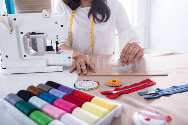 Fashion Designer Measuring Fabric With Ruler Stock photo © AndreyPopov