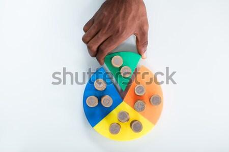 Hand stuk cirkeldiagram munten Stockfoto © AndreyPopov