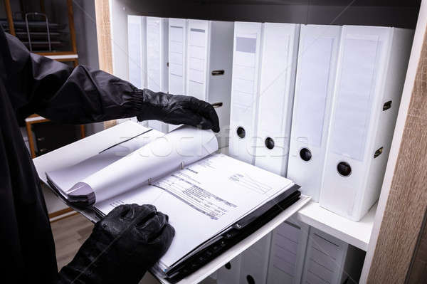Tolvaj tart számla mappa fekete kesztyű papír Stock fotó © AndreyPopov