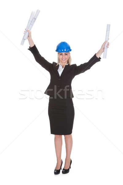 Stock fotó: Portré · női · építész · izgatott · tart · terv
