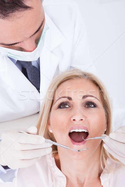 Dişçi hasta erkek kadın klinik Stok fotoğraf © AndreyPopov
