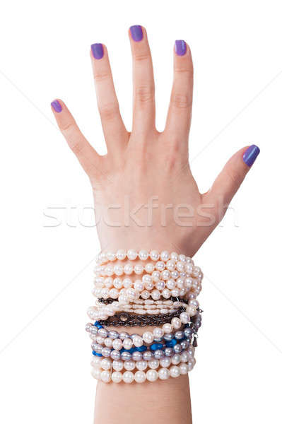 Close-up Of Woman's Hand With Pearl Bracelet Stock photo © AndreyPopov