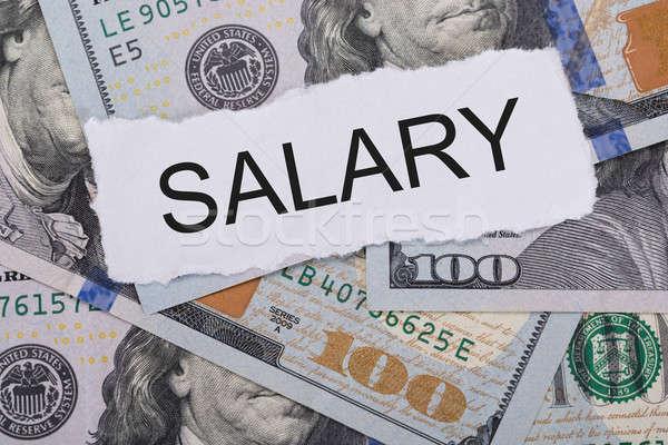 Salario signo primer plano negocios carta Foto stock © AndreyPopov
