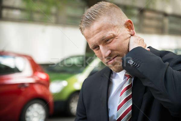 Genç boyun ağrısı sürücü trafik çarpışma Stok fotoğraf © AndreyPopov
