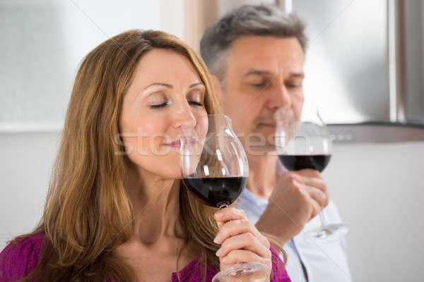 Paar Verkostung Glas Wein Party Stock foto © AndreyPopov