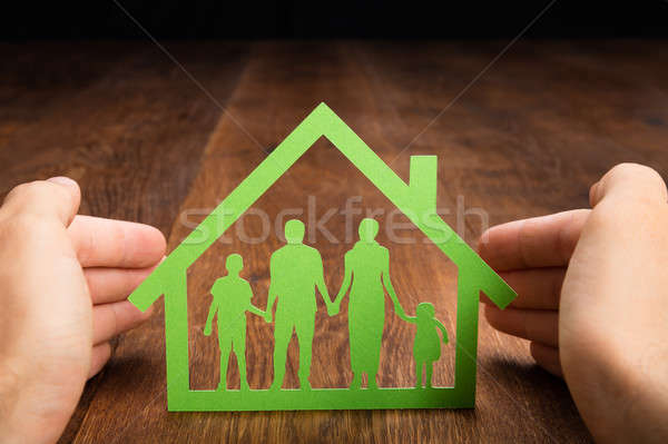 Person Hand Protecting Family Home Stock photo © AndreyPopov
