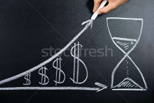 Dollar Growth Chart With Hourglass Drawn On Blackboard Stock photo © AndreyPopov